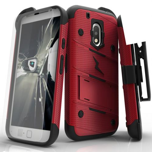 Motorola Moto G4 Play Case - [BOLT] Heavy Duty Cover w/ Kickstand, Holster, Tempered Glass Screen Protector & Lanyard [Red]