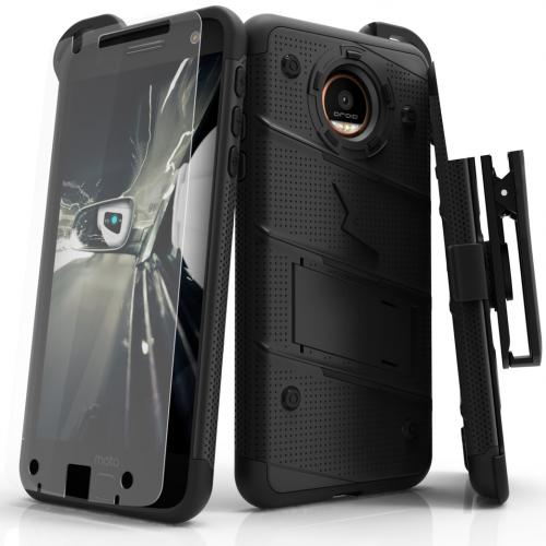 [Motorola Moto Z] Case - [BOLT] Heavy Duty Cover w/ Kickstand, Holster, Tempered Glass Screen Protector & Lanyard [Black]