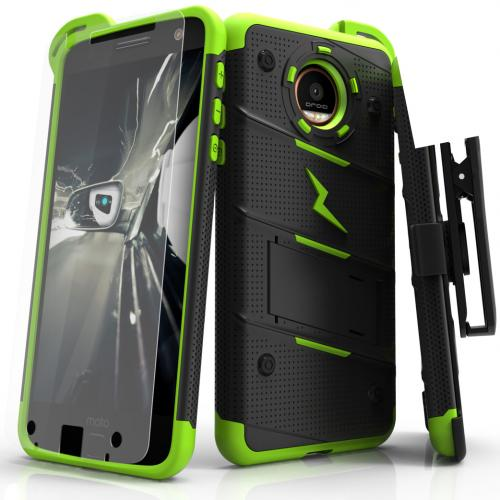 [Motorola Moto Z] Case - [BOLT] Heavy Duty Cover w/ Kickstand, Holster, Tempered Glass Screen Protector & Lanyard [Black/ Neon Green]