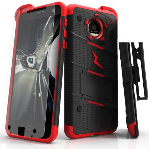 [Motorola Moto Z] Case - [BOLT] Heavy Duty Cover w/ Kickstand, Holster, Tempered Glass Screen Protector & Lanyard [Black/ Red]