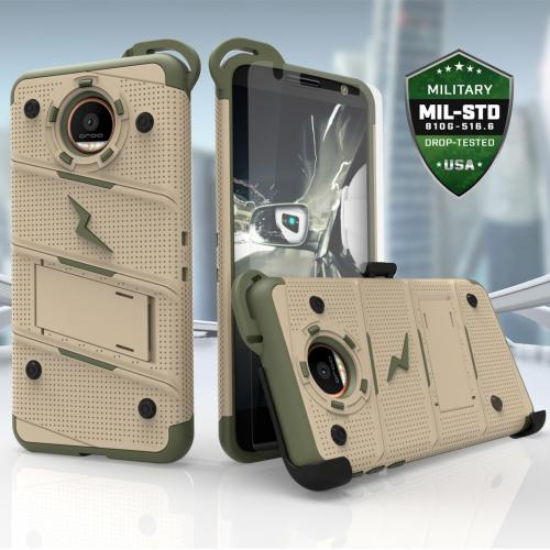 [Motorola Moto Z] Case - [BOLT] Heavy Duty Cover w/ Kickstand, Holster, Tempered Glass Screen Protector & Lanyard [Desert Tan/ Camo Green]