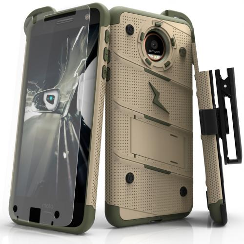 Motorola Moto Z Case - [BOLT] Heavy Duty Cover w/ Kickstand, Holster, Tempered Glass Screen Protector & Lanyard [Desert Tan/ Camo Green]