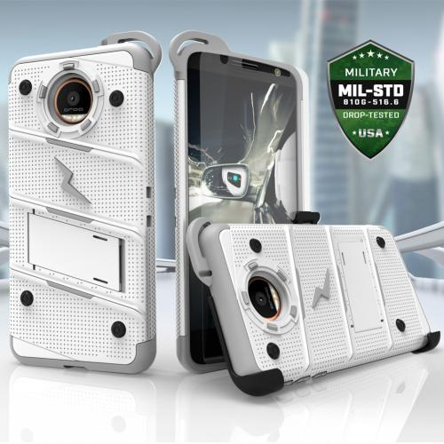 [Motorola Moto Z] Case - [BOLT] Heavy Duty Cover w/ Kickstand, Holster, Tempered Glass Screen Protector & Lanyard [White/ Gray]
