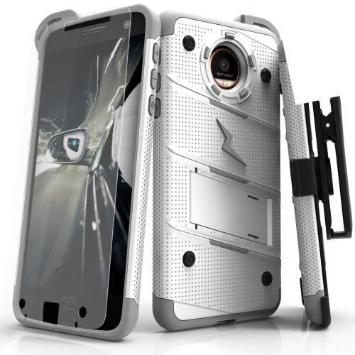 Motorola Moto Z Case - [BOLT] Heavy Duty Cover w/ Kickstand, Holster, Tempered Glass Screen Protector & Lanyard [White/ Gray]