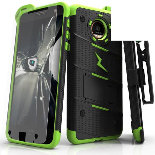 [Motorola Moto Z Force] Case - [BOLT] Heavy Duty Cover w/ Kickstand, Holster, Tempered Glass Screen Protector & Lanyard [Black/ Neon Green]
