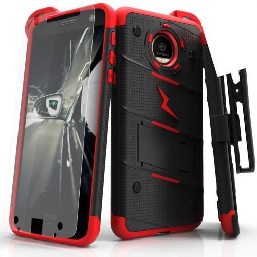 [Motorola Moto Z Force] Case - [BOLT] Heavy Duty Cover w/ Kickstand, Holster, Tempered Glass Screen Protector & Lanyard [Red/Black]