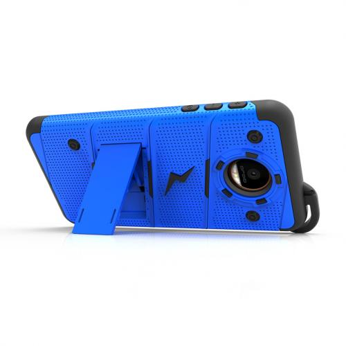 [Motorola Moto Z Force] Case - [BOLT] Heavy Duty Cover w/ Kickstand, Holster, Tempered Glass Screen Protector & Lanyard [Blue]