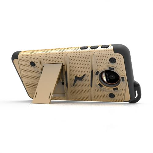 Motorola Moto Z Force Case - [BOLT] Heavy Duty Cover w/ Kickstand, Holster, Tempered Glass Screen Protector & Lanyard [Gold]