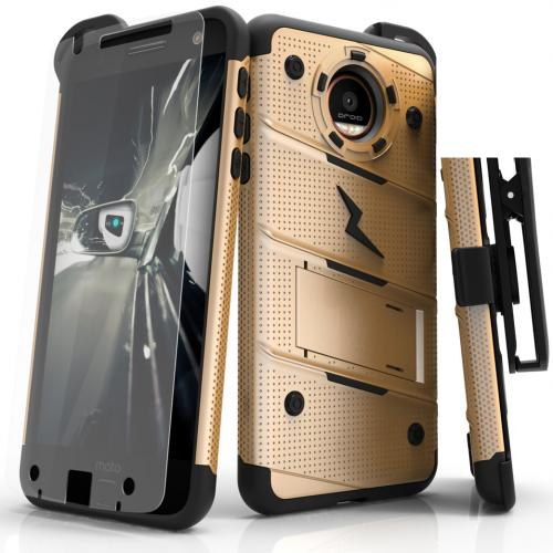 [Motorola Moto Z Force] Case - [BOLT] Heavy Duty Cover w/ Kickstand, Holster, Tempered Glass Screen Protector & Lanyard [Gold]