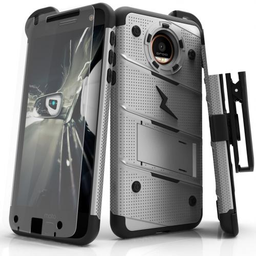 [Motorola Moto Z Force] Case - [BOLT] Heavy Duty Cover w/ Kickstand, Holster, Tempered Glass Screen Protector & Lanyard [Gray]