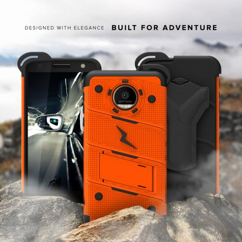 [Motorola Moto Z Force] Case - [BOLT] Heavy Duty Cover w/ Kickstand, Holster, Tempered Glass Screen Protector & Lanyard [Orange]
