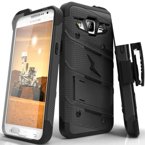 Samsung Galaxy Grand Prime Case - [BOLT] Heavy Duty Cover w/ Kickstand, Holster, Tempered Glass Screen Protector & Lanyard [Black]