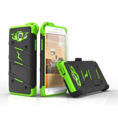 [Samsung Galaxy Grand Prime] Case - [BOLT] Heavy Duty Cover w/ Kickstand, Holster, Tempered Glass Screen Protector & Lanyard [Black/ Neon Green]