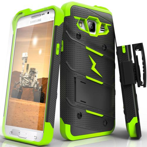 Samsung Galaxy Grand Prime Case - [BOLT] Heavy Duty Cover w/ Kickstand, Holster, Tempered Glass Screen Protector & Lanyard [Black/ Neon Green]