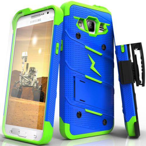Samsung Galaxy Grand Prime Case - [BOLT] Heavy Duty Cover w/ Kickstand, Holster, Tempered Glass Screen Protector & Lanyard [Blue/ Neon Green]