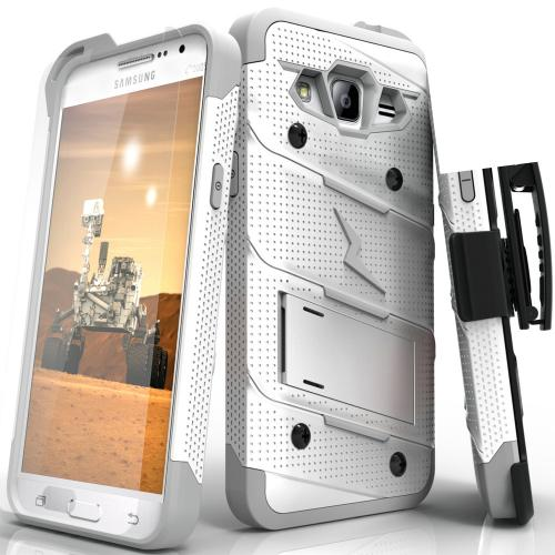 Samsung Galaxy Grand Prime Case - [BOLT] Heavy Duty Cover w/ Kickstand, Holster, Tempered Glass Screen Protector & Lanyard [White/ Gray]