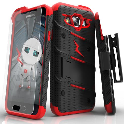 [Samsung Galaxy On5] Case, [BOLT] Heavy Duty Cover w/ Kickstand, Holster, Tempered Glass Screen Protector & Lanyard [Black/ Red]