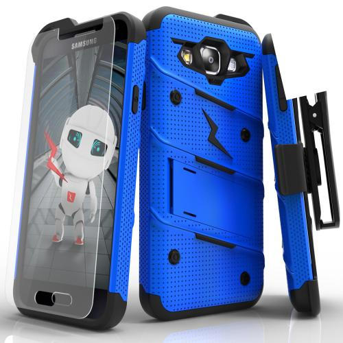[Samsung Galaxy On5] Case, [BOLT] Heavy Duty Cover w/ Kickstand, Holster, Tempered Glass Screen Protector & Lanyard [Blue/ Black]