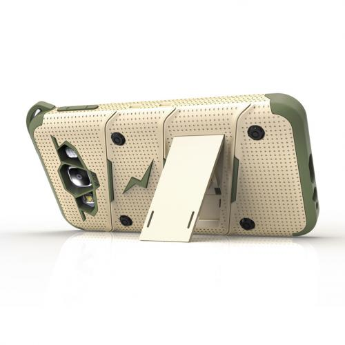 [Samsung Galaxy On5] Case, [BOLT] Heavy Duty Cover w/ Kickstand, Holster, Tempered Glass Screen Protector & Lanyard [Desert Tan/Camo Green]