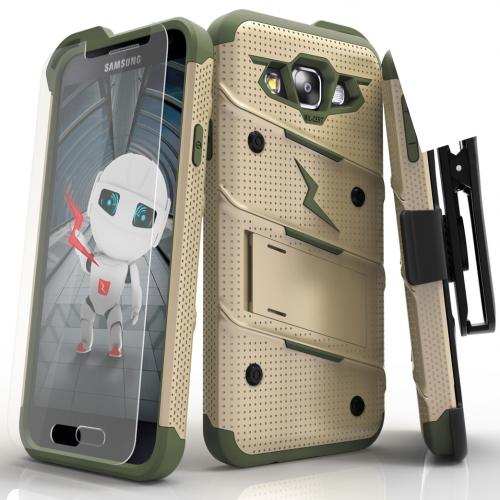 Samsung Galaxy On5 Case - [BOLT] Heavy Duty Cover w/ Kickstand, Holster, Tempered Glass Screen Protector & Lanyard [Desert Tan/Camo Green]