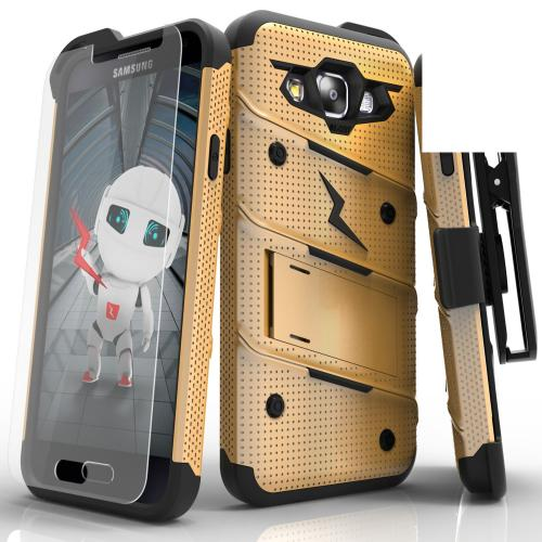 [Samsung Galaxy On5] Case, [BOLT] Heavy Duty Cover w/ Kickstand, Holster, Tempered Glass Screen Protector & Lanyard [Gold/ Black]