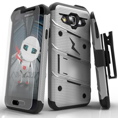 [Samsung Galaxy On5] Case, [BOLT] Heavy Duty Cover w/ Kickstand, Holster, Tempered Glass Screen Protector & Lanyard [Gray/ Black]