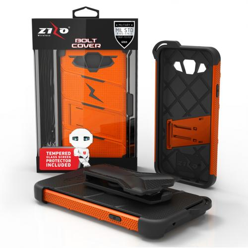 [Samsung Galaxy On5] Case, [BOLT] Heavy Duty Cover w/ Kickstand, Holster, Tempered Glass Screen Protector & Lanyard [Orange/ Black]