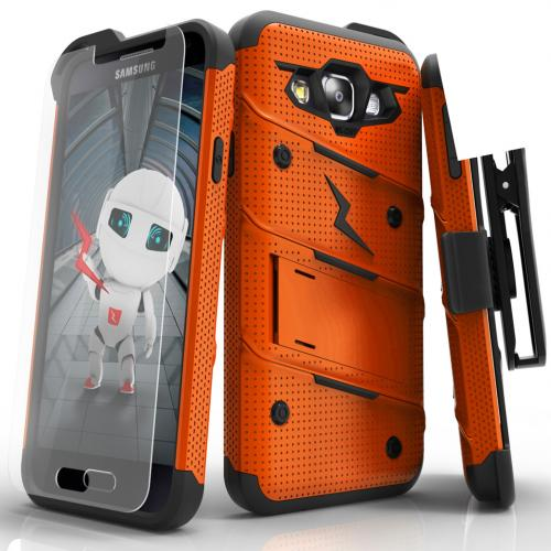 Samsung Galaxy On5 Case - [BOLT] Heavy Duty Cover w/ Kickstand, Holster, Tempered Glass Screen Protector & Lanyard [Orange/ Black]