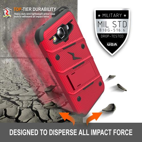 Samsung Galaxy On5 Case - [BOLT] Heavy Duty Cover w/ Kickstand, Holster, Tempered Glass Screen Protector & Lanyard [Red/ Black]