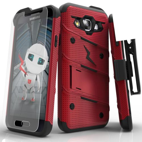 [Samsung Galaxy On5] Case, [BOLT] Heavy Duty Cover w/ Kickstand, Holster, Tempered Glass Screen Protector & Lanyard [Red/ Black]