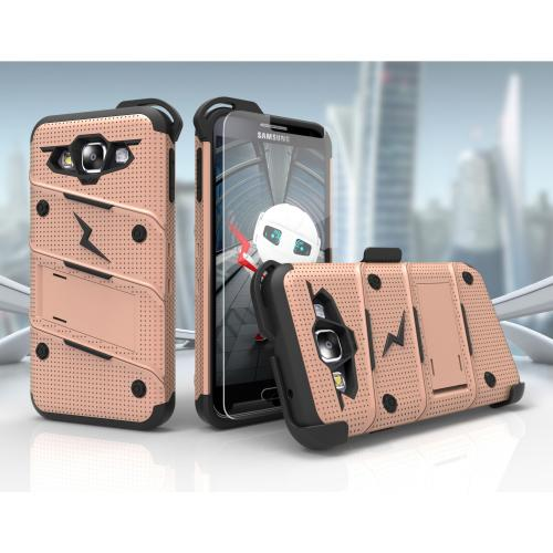 Samsung Galaxy On5 Case - [BOLT] Heavy Duty Cover w/ Kickstand, Holster, Tempered Glass Screen Protector & Lanyard [Rose Gold/ Black]