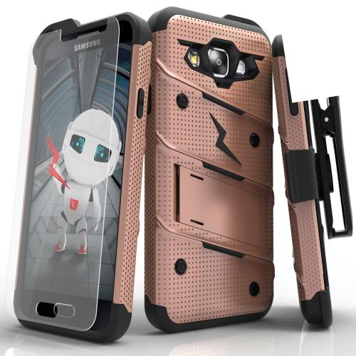 [Samsung Galaxy On5] Case, [BOLT] Heavy Duty Cover w/ Kickstand, Holster, Tempered Glass Screen Protector & Lanyard [Rose Gold/ Black]