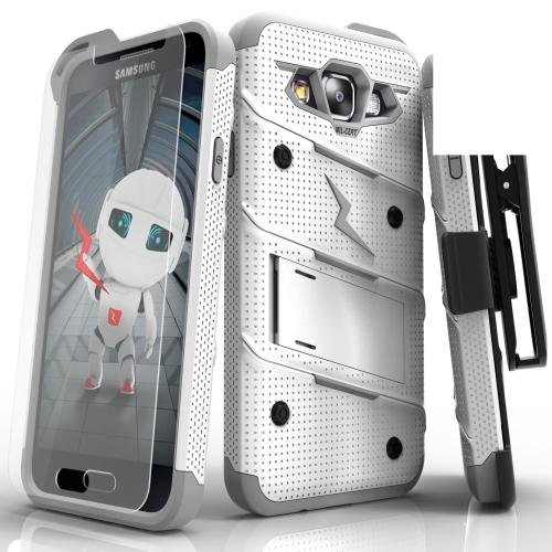 [Samsung Galaxy On5] Case, [BOLT] Heavy Duty Cover w/ Kickstand, Holster, Tempered Glass Screen Protector & Lanyard [White/ Gray]