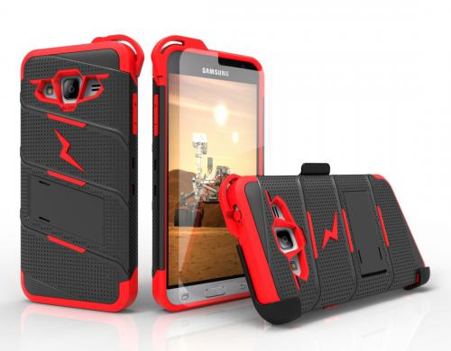 [Samsung Galaxy J3/ Galaxy Express Prime/ Galaxy AMP Prime] Case - [BOLT] Heavy Duty Cover w/ Kickstand, Holster, Tempered Glass Screen Protector & Lanyard [Black/ Red]