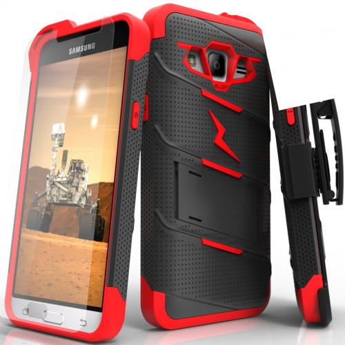 Samsung Galaxy J3/ Galaxy Express Prime/ Galaxy AMP Prime Case - [BOLT] Heavy Duty Cover w/ Kickstand, Holster, Tempered Glass Screen Protector & Lanyard [Black/ Red]