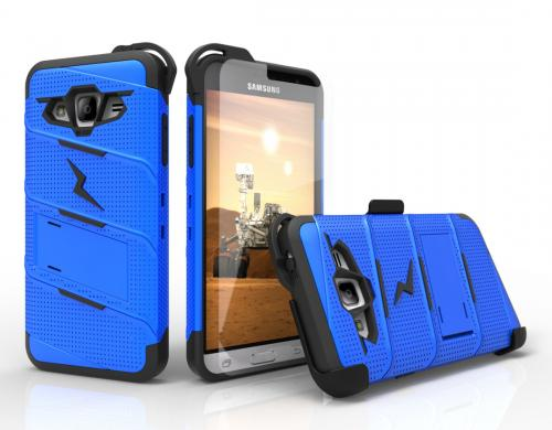 [Samsung Galaxy J3/ Galaxy Express Prime/ Galaxy AMP Prime] Case - [BOLT] Heavy Duty Cover w/ Kickstand, Holster, Tempered Glass Screen Protector & Lanyard [Blue/ Black]