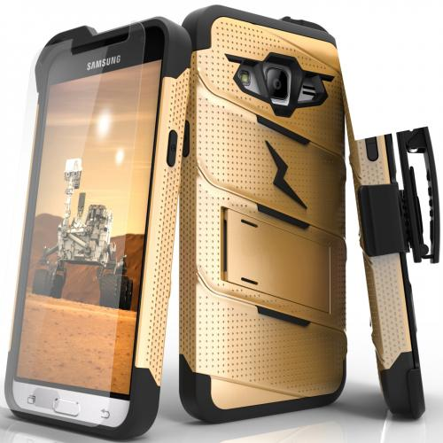 Samsung Galaxy J3/ Galaxy Express Prime/ Galaxy AMP Prime Case - [BOLT] Heavy Duty Cover w/ Kickstand, Holster, Tempered Glass Screen Protector & Lanyard [Gold/ Black]