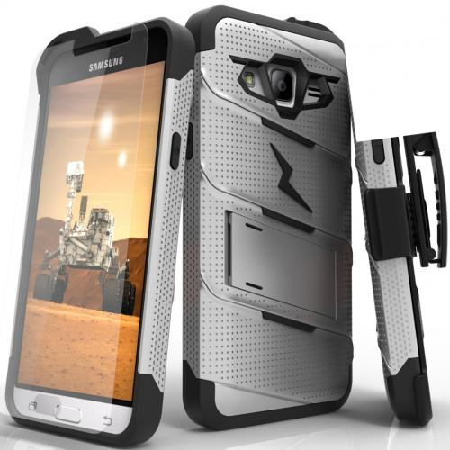 Samsung Galaxy J3/ Galaxy Express Prime/ Galaxy AMP Prime Case - [BOLT] Heavy Duty Cover w/ Kickstand, Holster, Tempered Glass Screen Protector & Lanyard [Gray/ Black]