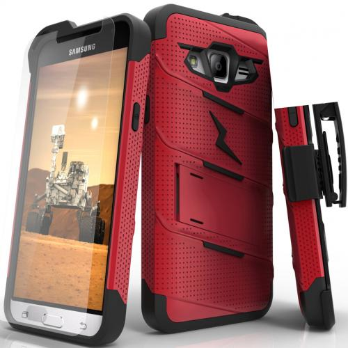 [Samsung Galaxy J3/ Galaxy Express Prime/ Galaxy AMP Prime] Case - [BOLT] Heavy Duty Cover w/ Kickstand, Holster, Tempered Glass Screen Protector & Lanyard [Red/ Black]