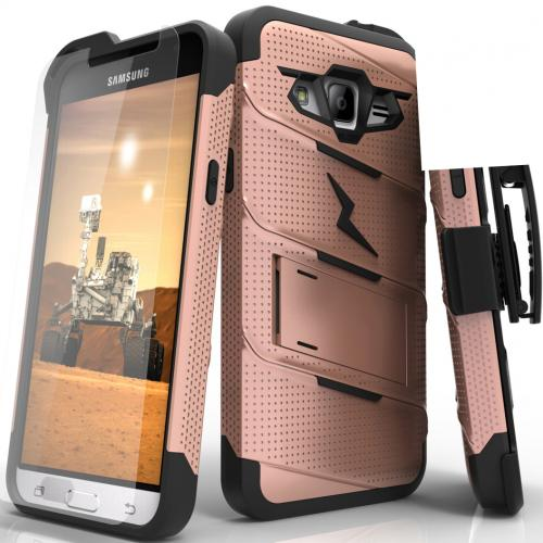 [Samsung Galaxy J3/ Galaxy Express Prime/ Galaxy AMP Prime] Case - [BOLT] Heavy Duty Cover w/ Kickstand, Holster, Tempered Glass Screen Protector & Lanyard [Rose Gold/ Black]