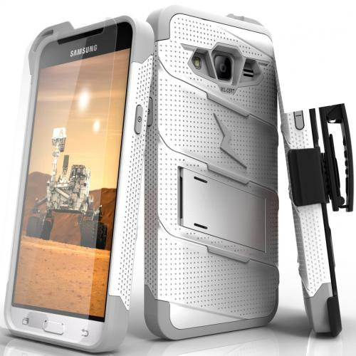 Samsung Galaxy J3/ Galaxy Express Prime/ Galaxy AMP Prime Case - [BOLT] Heavy Duty Cover w/ Kickstand, Holster, Tempered Glass Screen Protector & Lanyard [White/ Gray]
