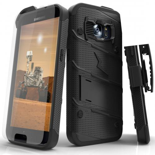 [Samsung Galaxy S7] Case - [BOLT] Heavy Duty Cover w/ Kickstand, Holster, Tempered Glass Screen Protector & Lanyard [Black]