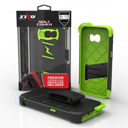 Samsung Galaxy S7 Case - [BOLT] Heavy Duty Cover w/ Kickstand, Holster, Tempered Glass Screen Protector & Lanyard [Black/ Neon Green]