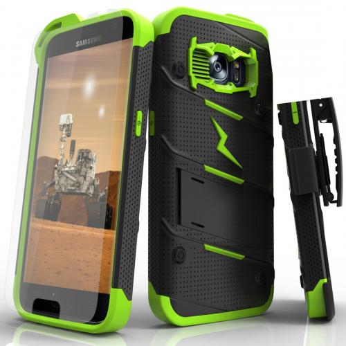 [Samsung Galaxy S7] Case - [BOLT] Heavy Duty Cover w/ Kickstand, Holster, Tempered Glass Screen Protector & Lanyard [Black/ Neon Green]