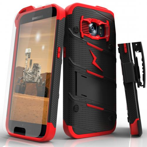 [Samsung Galaxy S7] Case - [BOLT] Heavy Duty Cover w/ Kickstand, Holster, Tempered Glass Screen Protector & Lanyard [Black/ Red]