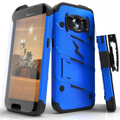 [Samsung Galaxy S7] Case - [BOLT] Heavy Duty Cover w/ Kickstand, Holster, Tempered Glass Screen Protector & Lanyard [Blue/ Black]