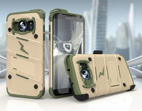 Samsung Galaxy S7 Case - [BOLT] Heavy Duty Cover w/ Kickstand, Holster, Tempered Glass Screen Protector & Lanyard [Desert Tan/ Camo Green]