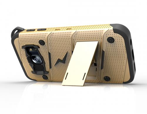 Samsung Galaxy S7 Case - [BOLT] Heavy Duty Cover w/ Kickstand, Holster, Tempered Glass Screen Protector & Lanyard [Gold/ Black]