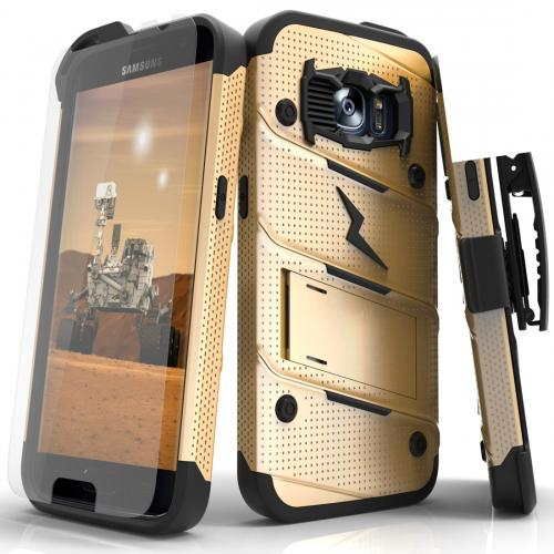[Samsung Galaxy S7] Case - [BOLT] Heavy Duty Cover w/ Kickstand, Holster, Tempered Glass Screen Protector & Lanyard [Gold/ Black]