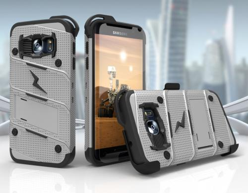 [Samsung Galaxy S7] Case - [BOLT] Heavy Duty Cover w/ Kickstand, Holster, Tempered Glass Screen Protector & Lanyard [Gray/ Black]